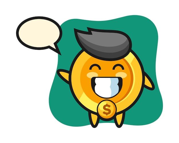 Dollar-münz-zeichentrickfigur, die wellenhandgeste tut