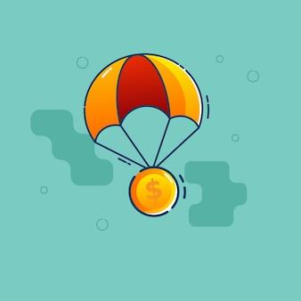 Dollar-münze fliegen mit fallschirm