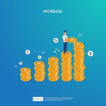 Dollar-münzen stapeln illustrationskonzept für geldwachstum, erfolg, geschäftsgewinnwachstum oder einkommensgehaltserhöhung mit personencharakter. finanzierungsperformance des return on investment roi