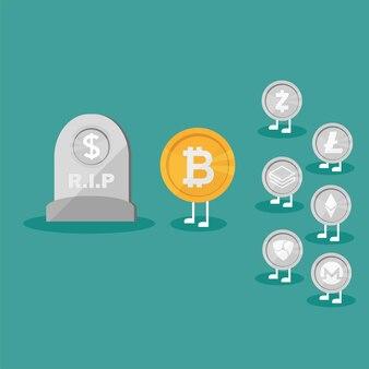Dollar-münzen-symbol grabstein flach. vektor des geschäftskonzeptsymbols für die verwendung in webprojekt für mobile anwendungen. echtgeld vs. virtuelles bitcoin-geld