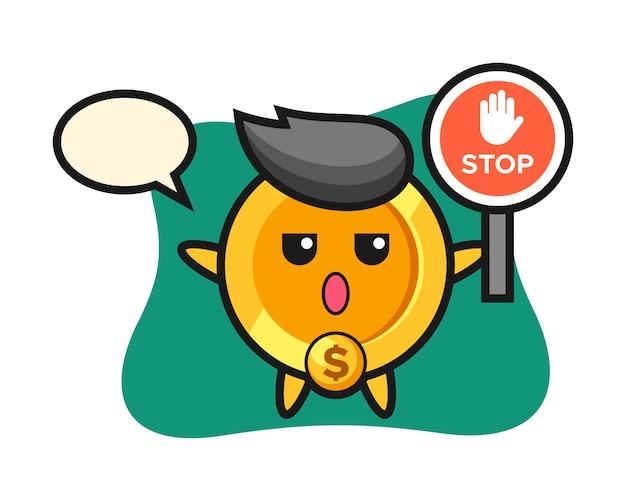 Dollar-münzzeichen-illustration, die ein stoppschild hält