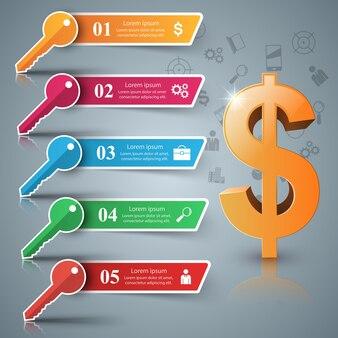 Dollar, schlüssel fünf papier infografik