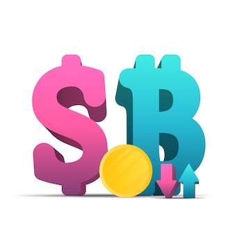 Dollar- und bitcoin-symbol. 3d-währungen