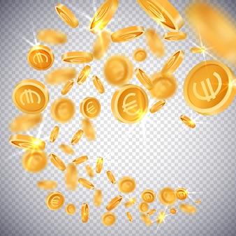 Dollar und euro der münzen 3d
