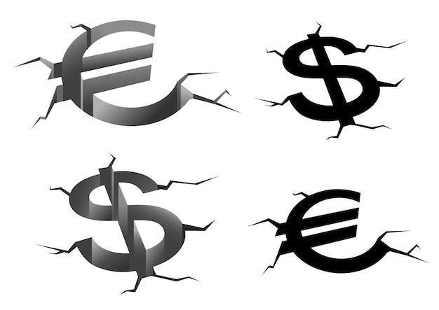 Dollar- und euro-geldsymbole in erdrissen, die auf weißem hintergrund für finanzkrise oder fallendes zinskonzept isoliert werden