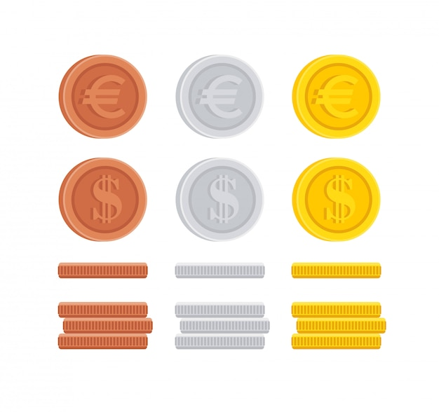 Dollar- und euromünz-centzeichen-ikonensammlung
