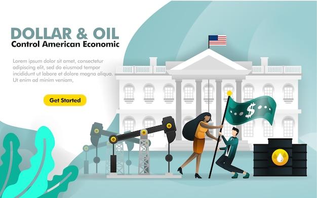 Dollar- und ölkontrolle amerika mit weißem haus