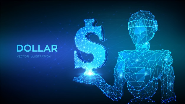 Dollar. us-dollar-zeichen. abstrakter niedriger polygonaler roboter 3d, der dollarikone hält.