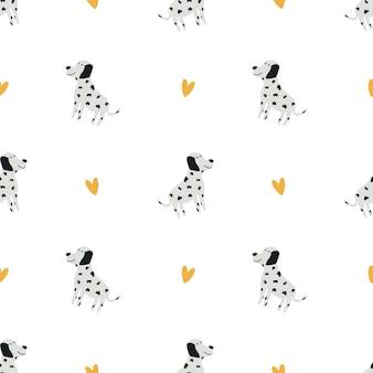 Dolmatinisches muster. netter babyhintergrund. lustige zeichentrickfigur. druck zum bedrucken von kindertextilien, kleidung, dekoration. vektorillustration, handgezeichnet