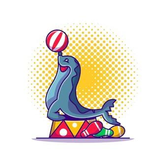 Dolphin show circus cartoon illustration Premium Vektoren