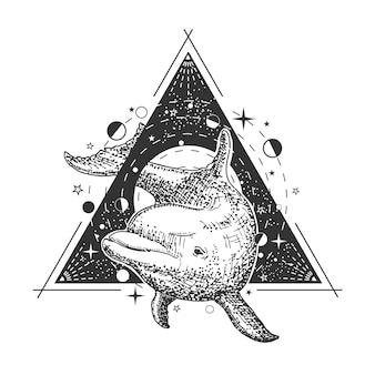 Dolphin tattoo kunststil