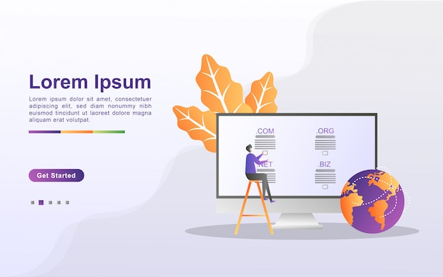 Domain name und registrierungskonzept. registrieren sie eine website-domain und wählen sie die richtige domain aus. kann für web-landing-page, banner, mobile app verwenden.