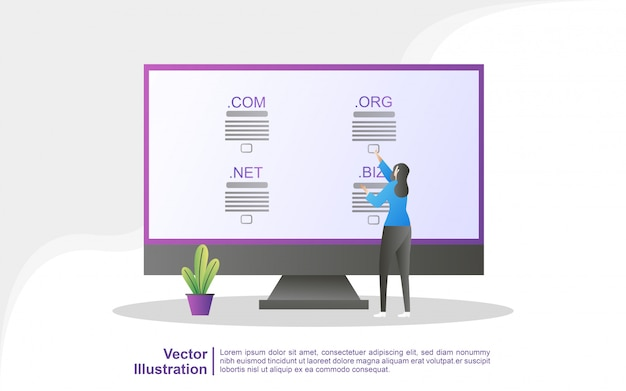 Domain name und registrierungskonzept. registrieren sie eine website-domain und wählen sie die richtige domain aus.
