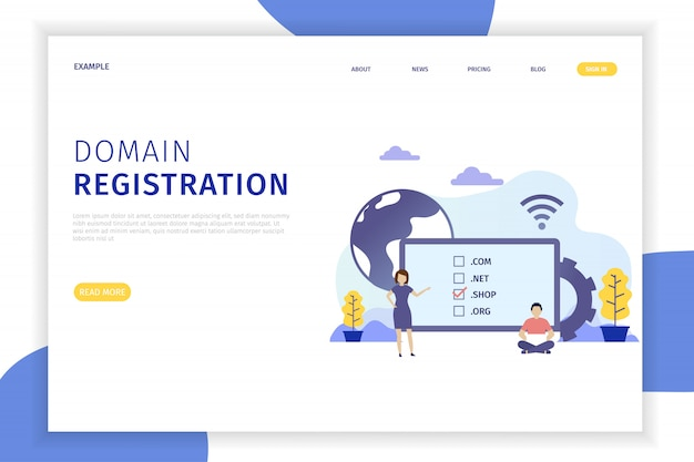 Domain registration landing page abbildung