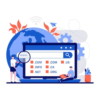 Domain-registrierungs-webseiten-konzept mit winzigen personen charakter wählen