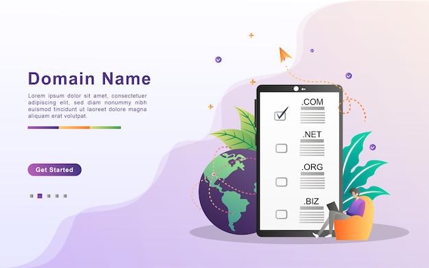 Domainname und registrierungskonzept. registrieren sie eine website-domain, wählen sie die richtige domain.