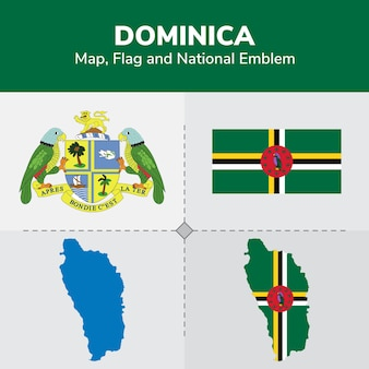 Dominica karte, flagge und nationales emblem