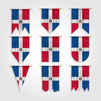 Dominikanische republik flagge in verschiedenen formen