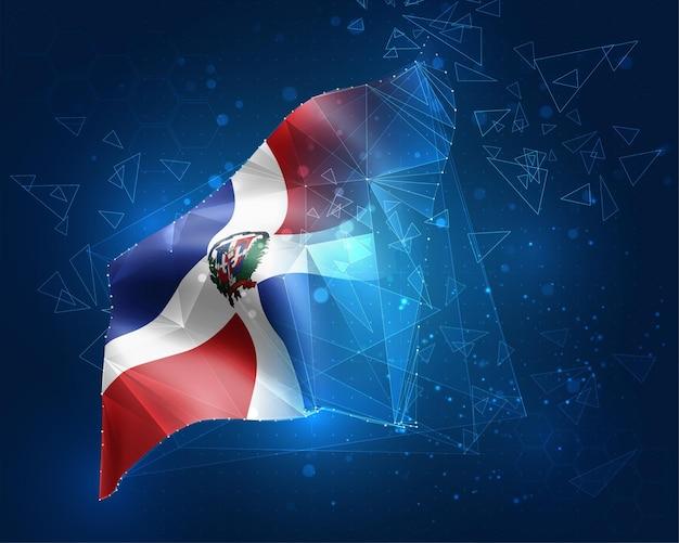 Dominikanische republik, vektorflagge, virtuelles abstraktes 3d-objekt aus dreieckigen polygonen auf blauem hintergrund