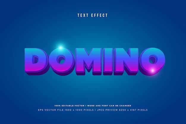 Domino 3d-texteffekt auf blauem hintergrund