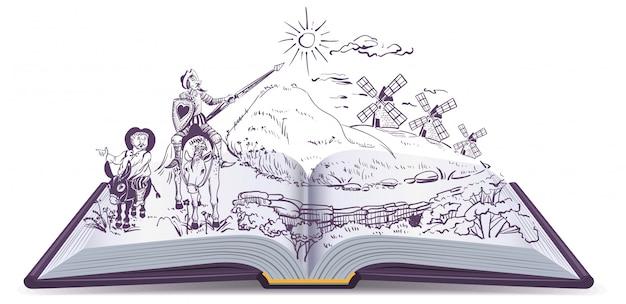 Don quixote-vektorkarikaturillustration des offenen buches