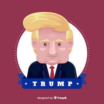 Donald trump portrait mit flacher bauform