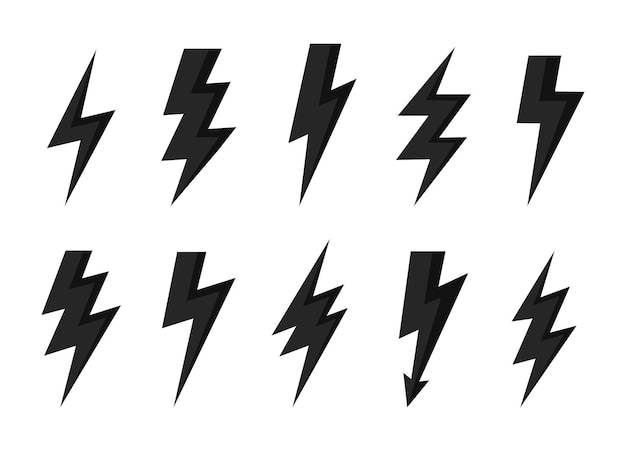 Donner-bolzen-vektor-symbol blitz-symbole für blitz- und blitzbeleuchtung gesetzt.