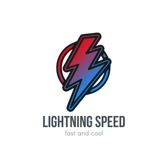 Donner-cartoon-gradientenillustration. blitz im kreis. geschwindigkeit, handgezeichnetes energiesymbol