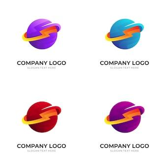 Donner- und planetenlogo-designvorlage mit buntem 3d-stil
