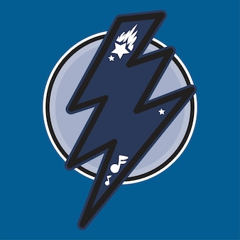 Donnerblaue farbabbildung. blitz im kreis. geschwindigkeit, energie handgezeichnetes gestaltungselement