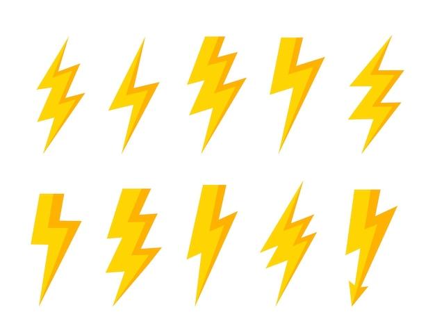 Donnerbolzen-vektorsymbol donner- und blitzlichtblitzsymbole eingestellt