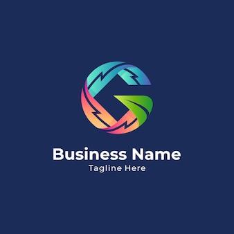 Donnerbuchstabe g kreatives logokonzept mit mehreren farbverlaufsfarben
