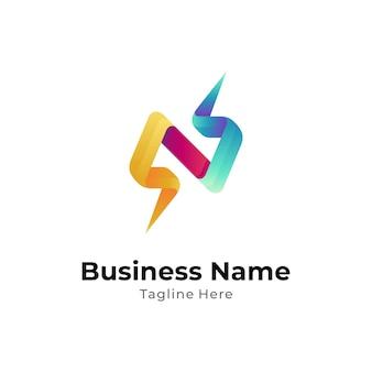 Donnerbuchstabe n-logo mit 3d-farbverlauf