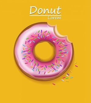 Donut auf gelbem hintergrund