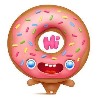 Donut-cartoon-emoji-charakter, der hallo sagt.