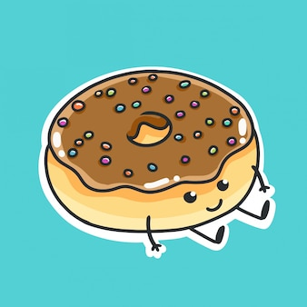 Donut-cartoon-illustration. sitzende hand gezeichnete illustration des netten donuts.