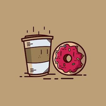 Donut cartoon mit kaffee