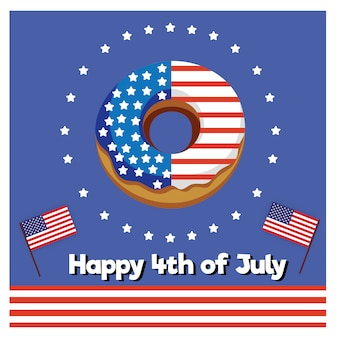 Donut glücklich 4. juli, usa unabhängigkeitstag. amerikanischer patriotischer feiertag.