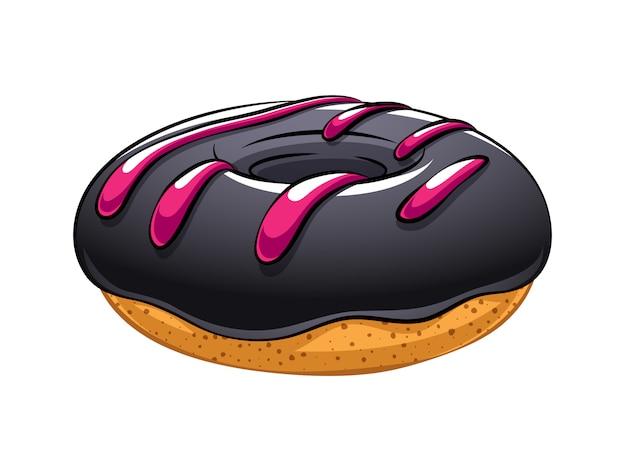 Donut in der karikaturartillustration. trendy schwarzes essen.