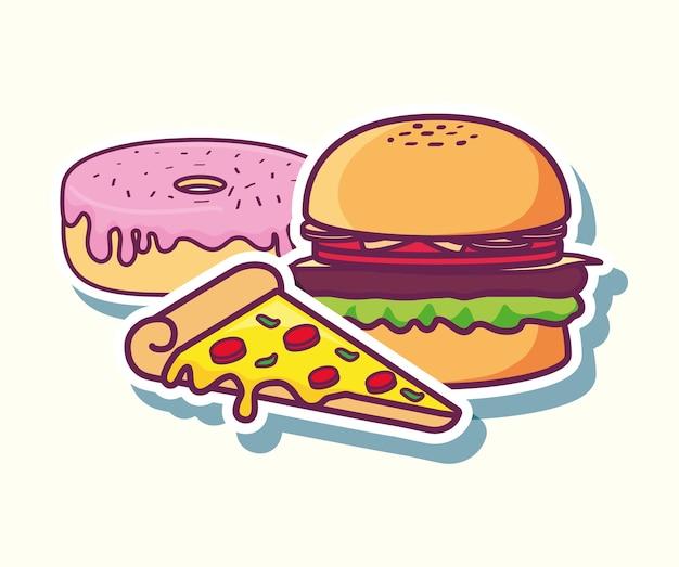 Donut mit pizza- und hamburgerikone über weißem hintergrund