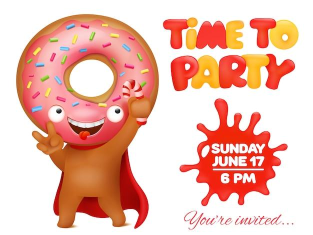 Donut party einladungskarte mit lustigen cartoon emoticon charakter.