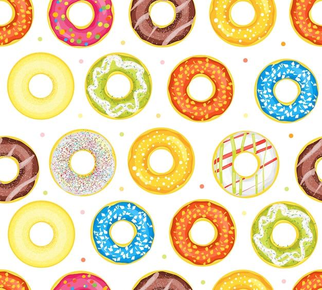 Donut set verschiedene süße dessert.