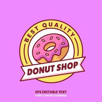 Donut shop logo vektor icon illustration im flat style premium isoliertes donut logo für coffee shop