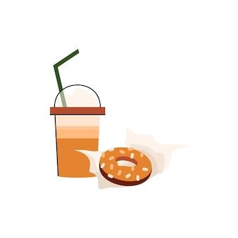 Donut und kaffee in einer tasse zum mitnehmen isoliertes getränk und dessert zum mitnehmen