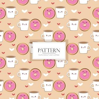 Donut und kaffee nahtlose muster