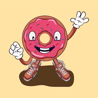 Donut wave hände design illustration