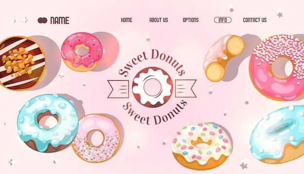 Donut-website, bäckerei-landingpage, auswahl an süßen donuts