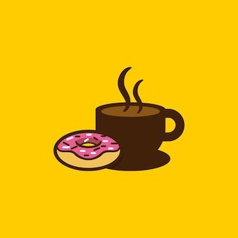 Donut zum frühstück und kaffee-logo-vorlage