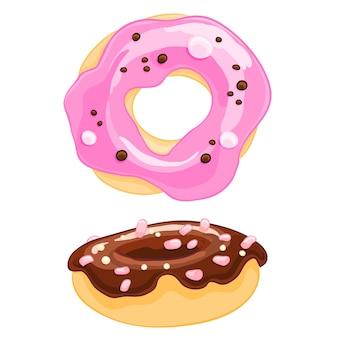 Donut zwei süße karikaturikonen mit besprüht, bereift und der eibisch.