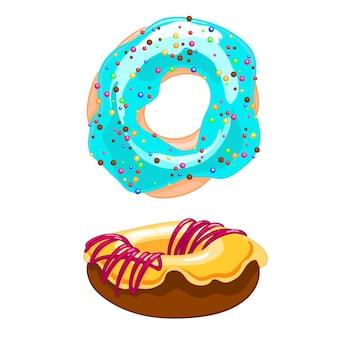 Donut zwei süße karikaturikonen mit besprüht, zuckerglasur und bewässerungsstau.